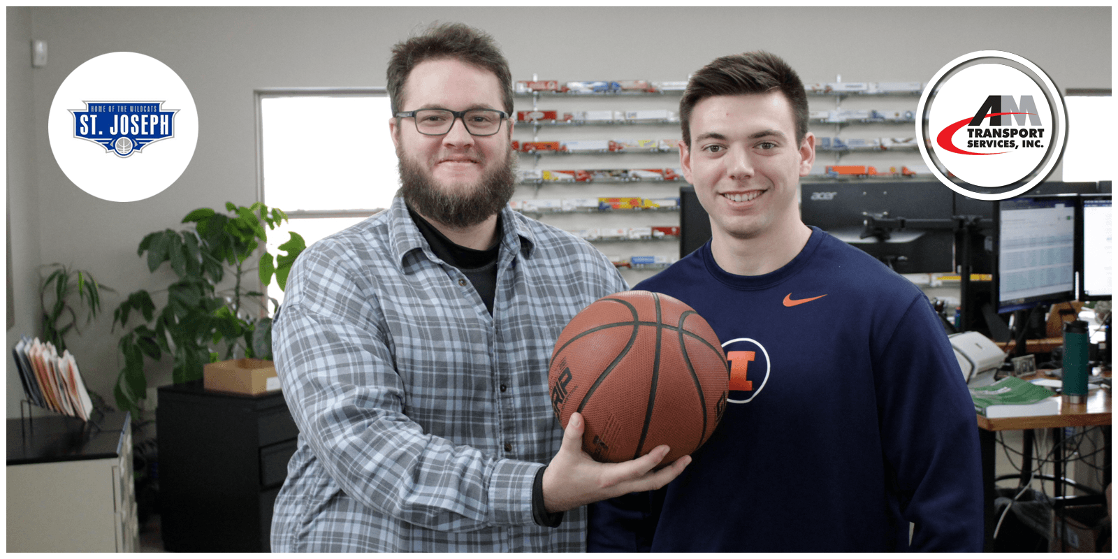 Jesse Baker, Chad Martin, and a basketball