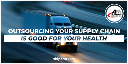 picture of a truck with outsourcing your supply chain is good for your health.