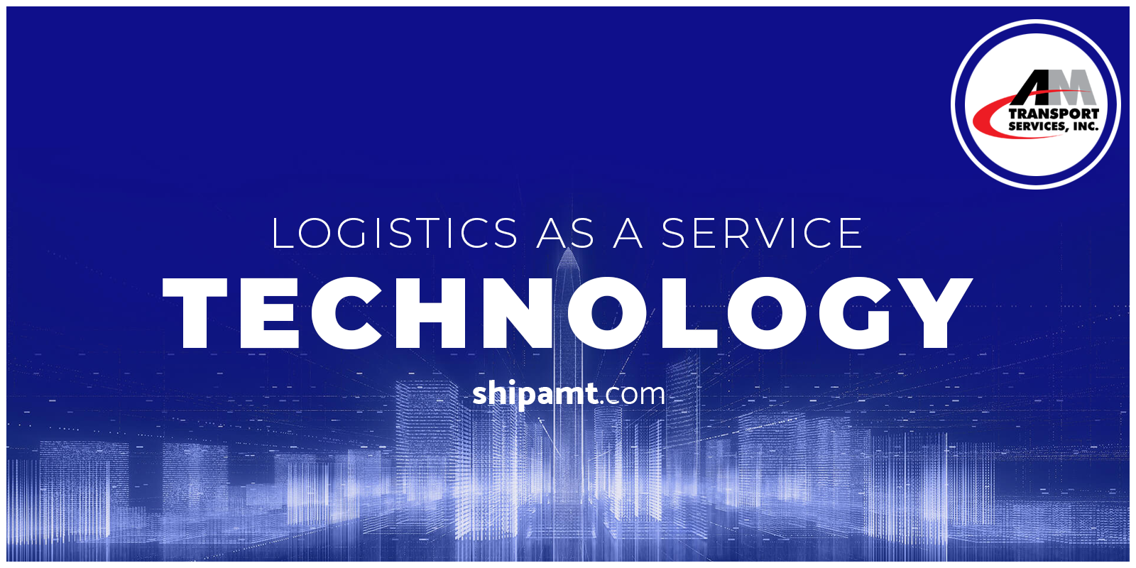 Logistics as a Service Technology on blue background.